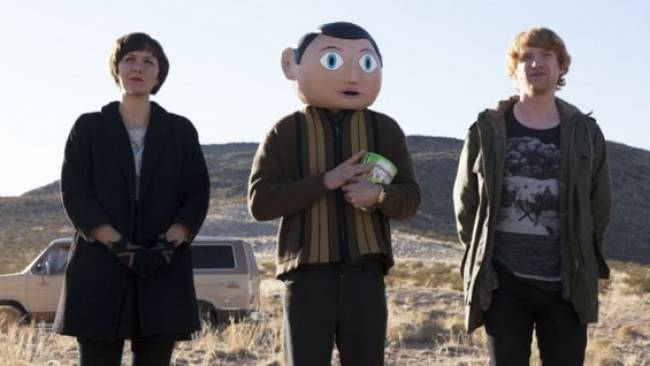 First still of Maggie Gyllenhaal, Frank Sidebottom (Michael Fassbinder, and Domhnall Gleeson in 'Frank'.