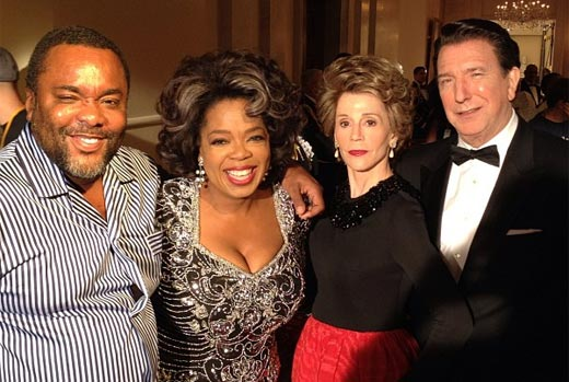 From left to right: Director Lee Daniels and 'The Butler' cast members Oprah Winfrey, Jane Fonda, and Alan Rickman