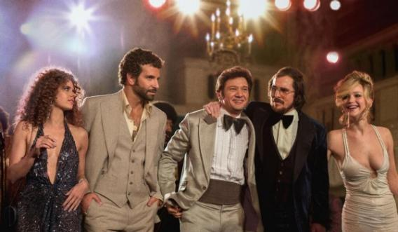 The stars of 'American Hustle': (from left to right) Amy Adams, Bradley Cooper, Jeremy Renner, Christian Bale, and Jennifer Lawrence