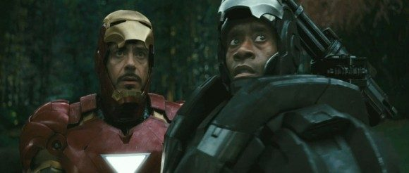 Don Cheadle (Right) and Robert Downey Jr (Left) as War Machine and Iron Man (respectively)