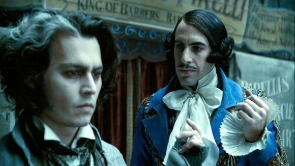L to R: Johnny Depp and Sacha Baron Cohen in 'Sweeney Todd'
