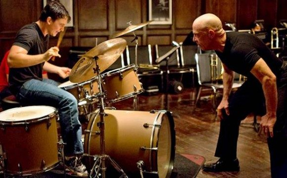 Miles Teller as the student and J.K. Simmons as the brutal conductor in 'Whiplash'