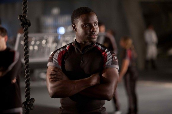 Dayo Okeniyi as Thresh, one of the tributes from District 11,  in 'The Hunger Games'