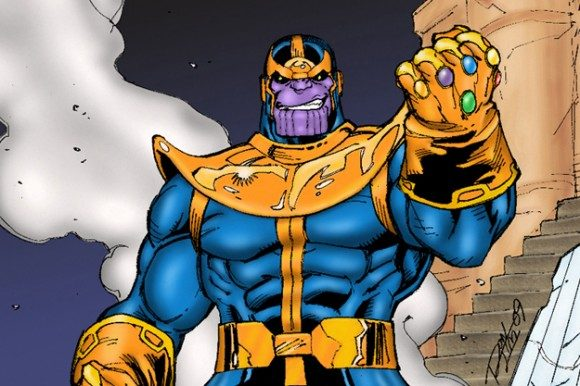 Thanos wearing the Infinity Guantlet with the Stones in place