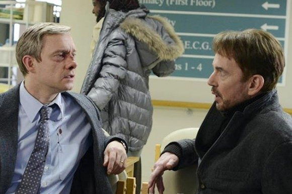 Martin Freeman and Billy Bob Thornton as Lester Nygaard and Lorne Malvo in Fargo (TV)