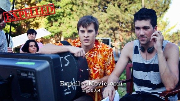 Marcus Johns and Director Alex Goyette between takes
