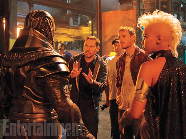 Director Bryan Singer with Oscar Isaac, Michael Fassbender and Alexandra Shipp