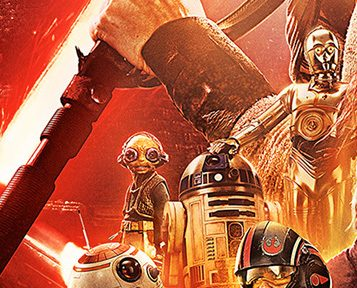 Maz Kanata wearing her goggles in the official 'The Force Awakens' poster.
