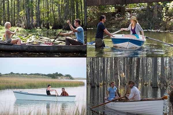 Rowboat scenes in 'Safe Haven', 'The Lucky One', 'The Choice', and 'The Notebook'