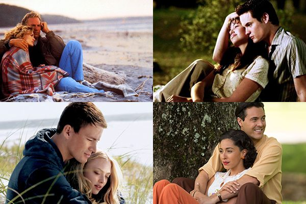 Outdoor cuddling featured in 'Message in a Bottle', 'A Walk to Remember', 'Dear John', and 'The Longest Ride'